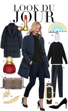 Look Du Jour: Alle Farben. Black sweater+navy trousers+black stilettos+pale brown chain shoulder bag+navy padded parka. Fall Casual Business Outfit 2016