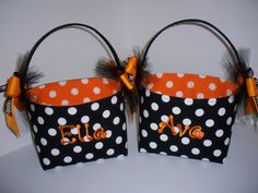 Halloween Trick or Treat Fabric Basket / by BridgetsStitches, $22.00