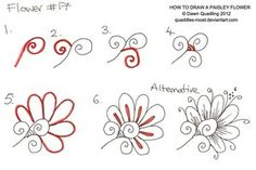How to draw Paisley Flower 17 by *Quaddles-Roost on deviantART and more doodle ideas Doodles Zentangles, Zentangle Drawings, Doodle Drawings, Doodle Art, Tangle Doodle, Doodle Patterns, Zentangle Patterns, Flower Patterns, Zantangle Art