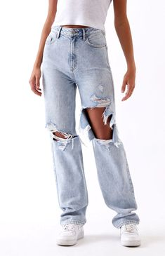 Cute Ripped Jeans, Ripped Jeans Outfit, 90s Jeans, Outfit With Boyfriend Jeans, High Waisted Baggy Jeans, Mom Jeans Outfit Summer, Loose Fit Jeans, Summer Jeans, Skinny Jeans