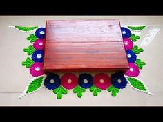 Welcome to Aniket's Creativity This video is showing making of margashirsha laxmi puja or margashirsha laxmi vrat 2019 or chaurang rangoli design, by. Rangoli Side Designs, Simple Rangoli Border Designs, Rangoli Borders, Free Hand Rangoli Design, Rangoli Patterns, Rangoli Ideas, Rangoli Designs Diwali, Rangoli Designs With Dots, Beautiful Rangoli Designs