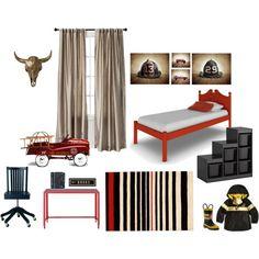 """Fireman Room"" boys room, Firetruck decor, fire truck room red and white themed room, red white and black boys room www.shawnstpeter.etsy.com  by saintandsailor on Polyvore"