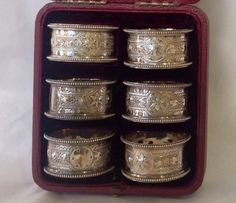 Boxed Set of 6 Silverplate Napkin Rings late 19th/20th c from Antiques of River Oaks on Ruby Lane $595 - Questions Call: 713-961-3333