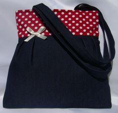 Óóóóriási kedvezmény a kifutó táskákra!!! Farmer táska piros pöttyökkel , Táska, Ruha, divat, cipő, Válltáska, oldaltáska, Meska