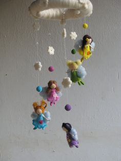 Needle felted waldorf inspired mobile Fairies por Made4uByMagic, $139.00