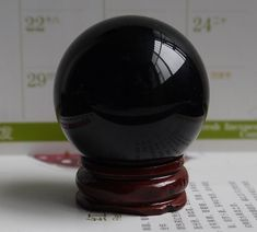 USA 40MM +Stand Natural Black Obsidian Sphere Crystal Ball Healing Stone  #crystalball #obsidian #blackcrystal #blackcrystalball