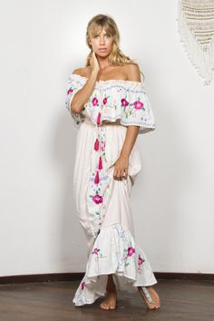 """""""Seeker Lover Keeper Nursing Dress"""" Embroidered Nursing Maxi Dress - Cross Stitch Fillyboo - Boho inspired maternity clothes online, maternity dresses, maternity tops and maternity jeans. Summer Holiday Dresses, Summer Dresses, Off Shoulder Long Dress, Maternity Clothes Online, Cotton Long Dress, Embroidery Dress, Floral Embroidery, Mode Boho, Maxi Robes"""