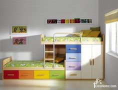 Love this bunk bed- clean, simple, modern and storage! Site has lots of ideas for rooms for two