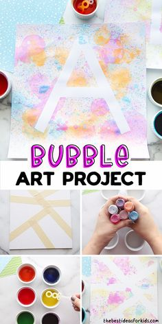 Summer Fun For Kids, Summer Activities For Kids, Arts And Crafts For Kids Easy, Art For Kids, Painting Activities, Craft Activities, Bubble Art, Preschool Crafts, Kids Crafts