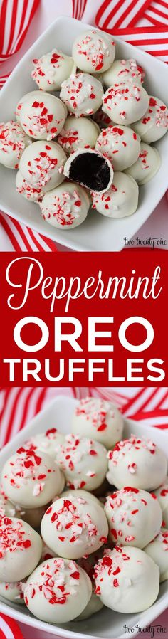 Delicious holiday treats with only 5 ingredients!, Holiday Tips, Peppermint Oreo Truffles! Delicious holiday treats with only 5 ingredients! Mini Desserts, Holiday Desserts, Holiday Baking, Holiday Treats, Holiday Recipes, Delicious Desserts, Yummy Treats, Sweet Treats, Christmas Recipes