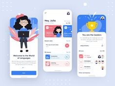 🖖 I wanna introduce you the concept of a foreign language learning app. Daily competitions contribute to increasing the attendance of the application. Participate and win in challenge. App Ui Design, Mobile App Design, Web Design, Mobile Ui, App Design Inspiration, Apps, Web Layout, App Development, How To Introduce Yourself