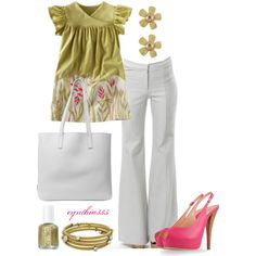 Gold and Pink, created by cynthia335 on Polyvore; I love the colors but not sure how the shirt would look