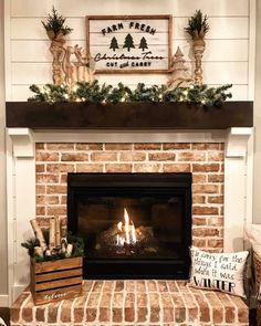 Most current No Cost farmhouse Brick Fireplace Tips Christmas Tree Sign Farmhouse Style Wall Decor Farm Fresh Christmas Trees Sign Holiday Sign Brick Fireplace Makeover, Home Fireplace, Living Room With Fireplace, Fireplace Design, Fireplace Ideas, Brick Fireplace Decor, Brick Fireplace Remodel, White Wash Brick Fireplace, Brick Wall Decor