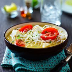 Coconut Curry Noodle Bowl from Dr. Oz. Substitute Shiritaki noodles and this is diabetic friendly. -CAB