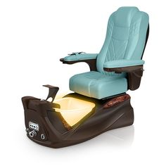 Infinity pedi-spa shown in Neptune Ultraleather cushion, Mocha base, Aurora LED Color-Changing bowl (shown in orange)