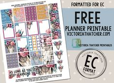 Free Printable Boho Longhorn Planner Stickers from Victoria Thatcher