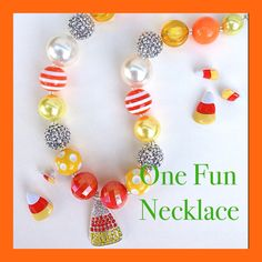 Candy Corn Chunky Bead Bubblegum Bead necklace by OneFunNecklace  I can be found on Etsy at ONEFUNNECKLACE !