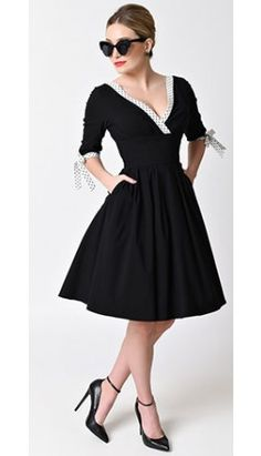 Unique Vintage 1950s Style Black & White Sleeved Diana Swing Dress