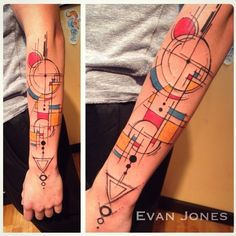 Piet Mondrian/Yann Black inspired piece by Evan Jones of First Place Tattoos, Hackettstown, NJ