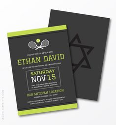 A stylish tennis bar mitzvah invitation featuring crossed rackets and a tennis ball. At the top and bottom are green borders. The style is minimal and modern in green and white against dark gray. This tennis bar mitzvah invitation would be ideal for a tennis themed or sports themed bar mitzvah.
