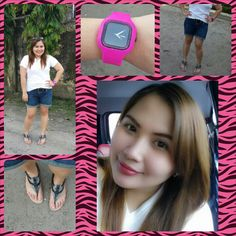 Holiday is casual day! :) #ootd #pinkwatch #whiteshirt #gladiatorsandals #denimshorts