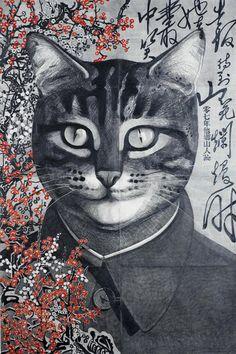 2headedsnake:    weimarart.blogspot.com  Qiu Jie, Portrait of Mao, 2007 Qiu's Portrait of Mao is a play on words: mao means cat in Chinese.