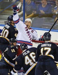 New York Rangers' Ryan Callahan, center, celebrates his goal as St. Ryan Callahan, Hockey Goal, Rangers Hockey, All Things New, National Hockey League, New York Rangers, Real Women, St Louis, My Boys