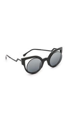 6c52a45ba3 Fendi Round Cutout Sunglasses - Matte Shiny Black/Dark Grey | SHOPBOP.COM  saved