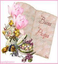 auguri di buona pasqua con fiori e frutta