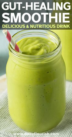 Green Smoothie Recipe for Healthy Gut & Weight Loss Probiotic & gut-healing green smoothie recipe. This healthy smoothie is packed with health benefits. Ingredients include avocado, spinach, pineapple, celery, collagen powder and more. Best Smoothie, Green Smoothie Recipes, Avocado Smoothie, Anti Bloat Smoothie, Banana Kale Smoothie, Anti Inflammatory Smoothie, Turmeric Smoothie, Matcha Smoothie, Healthy Green Smoothies