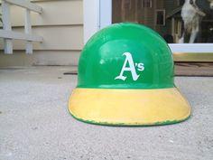 2a7ee06643b Vintage 70s 80s Oakland A s Athletics MLB baseball replica helmet hat  Hockey Helmet