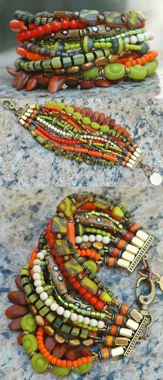 Bohemian Multi-Strand Beaded Cuff Bracelet $200 the ultimate summer boho chic bracelet