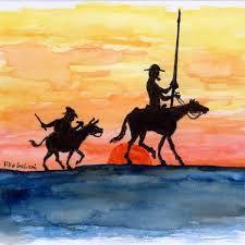Resultado de imagen de imagenes de don quijote y sancho panza a contraluz