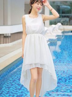 Super simple pure color irregular design sleeveless dress