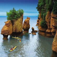 Hopewell Rocks on the Bay of Fundy, Canada during High tide