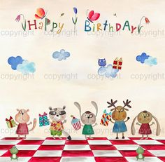 Birthdaygreeting card digital instant download by ekalogo on Etsy