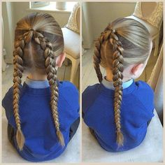 Ponytail into double french braids.