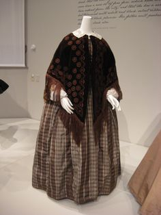 2012-08-25 KSMF -  Brown velvet cape and brown silk taffeta and plaid day dress, circa 1860.