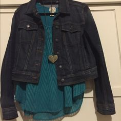 Dark Denim wash Jean Jacket Perfect as a spring jacket or a layering piece. This denim Jacket is a stylish classic you'll wear again and again.  If you like the pretty tank, let me know and we'll work out a Deal!! Jackets & Coats Jean Jackets