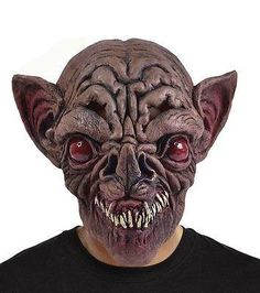 DELUXE MENS DEVIL SCARY LATEX HEAD MASK /& NECK OVERHEAD HORROR HALLOWEEN DEMON