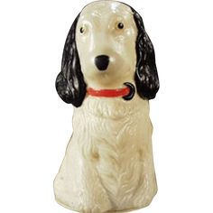 This celluloid dog, which looks like some type of spaniel, is an old tape measure. A collection could be made of just dogs when it comes to figural Vintage Sewing Notions, Vintage Sewing Machines, Sewing Tape Measure, Button Cards, Vintage Dog, Sewing Rooms, Pin Cushions, Scissors, Vintage Antiques