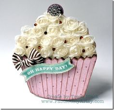 """Die-cut cupcake card with ribbon rosette """"frosting"""" by Tresa Black @ Fabulously Artsy"""