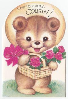 Vintage Greeting Card Cute Bear Rust Craft Flocked Flower Basket Die Cut J923…