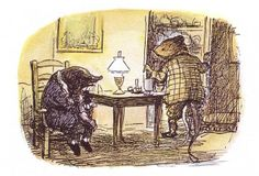 Having drinks - The Wind in the Willows by Kenneth Grahame, 1985 Mr Toad, Kenneth Grahame, Winnie The Pooh Friends, English Artists, Like Animals, Book Projects, Crafts To Do, Art Drawings, Art Pieces