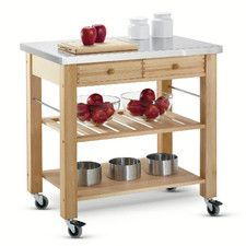 Lambourn 2 Drawer Kitchen Trolley with Stainless Steel Top