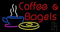 Red Coffee and Bagels Neon Sign 20 Tall x 37 Wide x 3 Deep, is 100% Handcrafted with Real Glass Tube Neon Sign. !!! Made in USA !!!  Colors on the sign are White, Blue, Pink, Yellow and Red. Red Coffee and Bagels Neon Sign is high impact, eye catching, real glass tube neon sign. This characteristic glow can attract customers like nothing else, virtually burning your identity into the minds of potential and future customers.