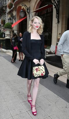 Emma Stone leaves her hotel the Athene Plazza. Paris, France October 3th 2012