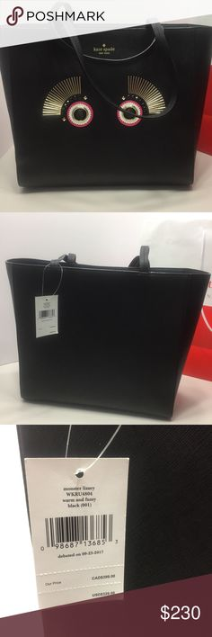 Kate Spade New York Monster Tote Bag PRODUCT DESCRIPTION: Make a spooky-chic statement when you carry this charming tote that's formed from supple leather for a lavish touch and lasting durability. Approximate Measurements: 16'' W x 12'' H x 5.5'' W 9'' handle drop Leather Snap closure Interior: one zip and two slip pockets Imported kate spade Bags Totes