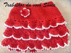 Trabalhos da vovó Sônia: Saia infantil vermelha - crochê
