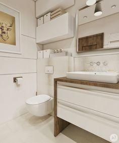 STUDIO: Projekt łazienka w ciepłych kolorach - 'makeover' Bad Inspiration, Bathroom Inspiration, Country Home Exteriors, Powder Room, Bathtub, Cabinet, Interior Design, Storage, House
